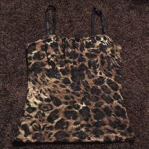A. Byer lace leopard print top - S - EUC
